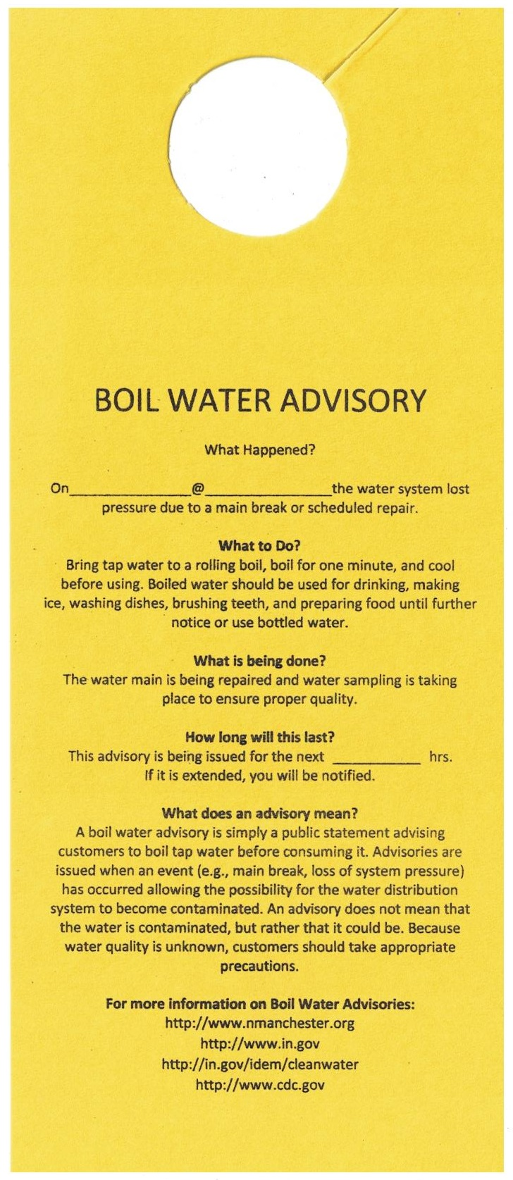 BOIL WATER ADVISORY / North Manchester, IN